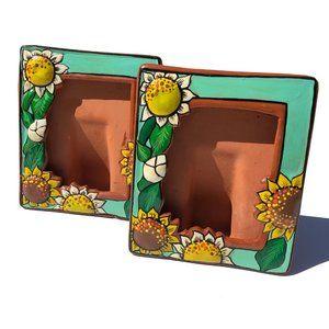 Signed Terra Cotta Hand Painted Sunflower Frames